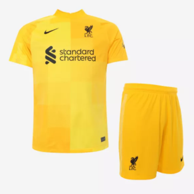 Liverpool 21/22 GK Yellow Soccer Jersey and Short Kit