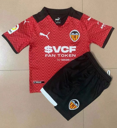 Kids-Valencia 21/22 Away Red Soccer Jersey