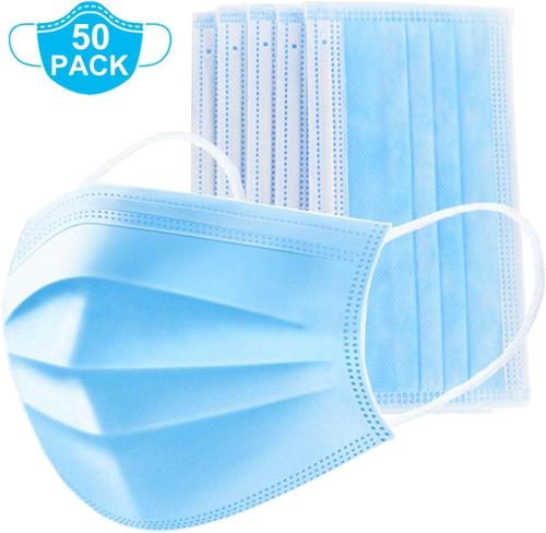 50 Piece Disposable Face Mask Safety Mask Dust for Medical Dental Salon and Personal Health, 3-Ply Ear Loop