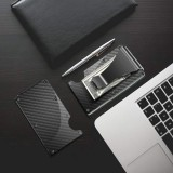Carbon Fibre Wallet, Slim Money Clip & Minimalist RFID Blocking Front Packet Slim Wallet, Aluminum Metal Wallet & Business Card