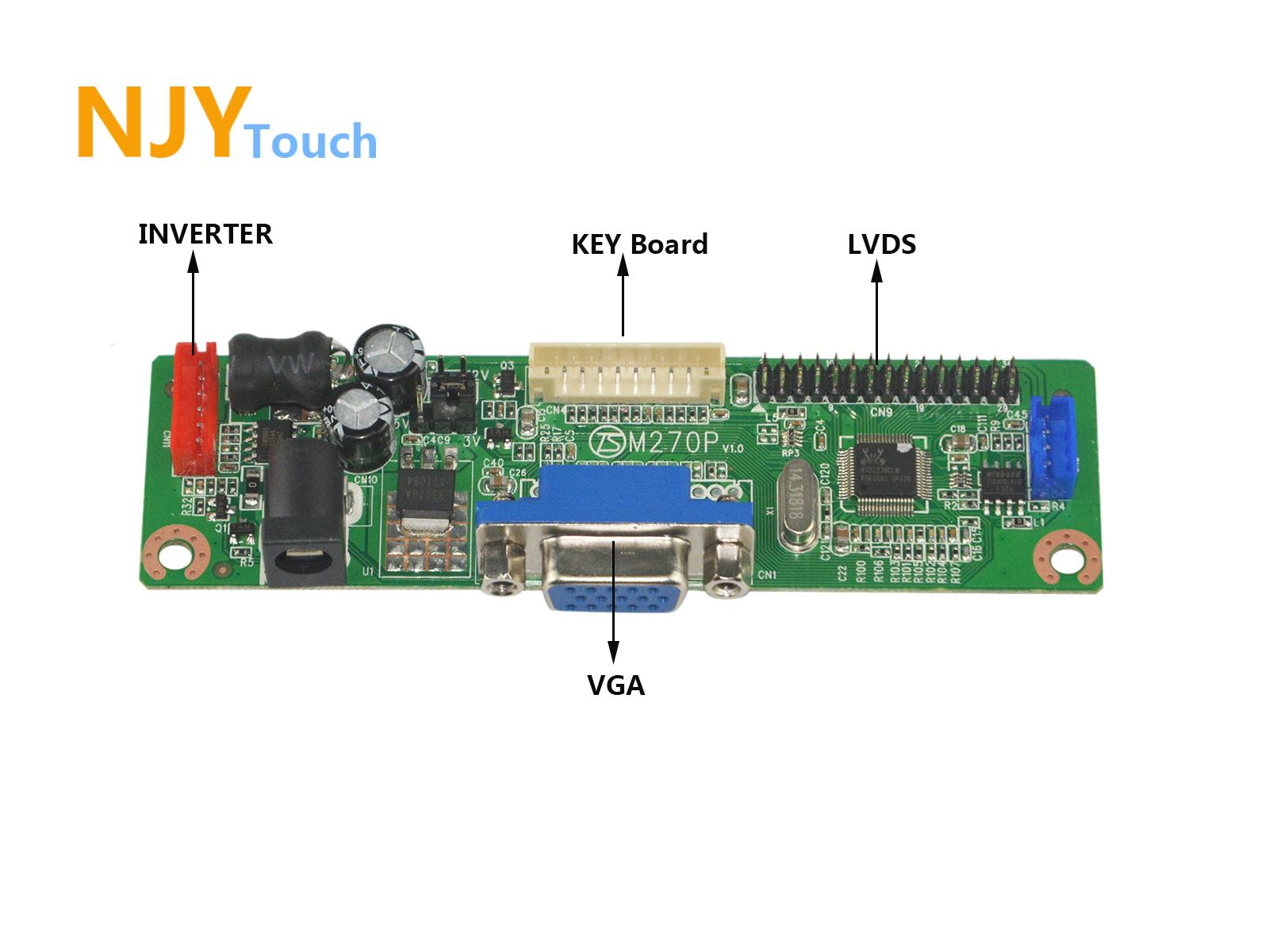 NJYTouch V.M70A VGA Controller Board For 10.1inch N101L6-L02 LP101WSA-TLA1 1024x600 LCD Screen
