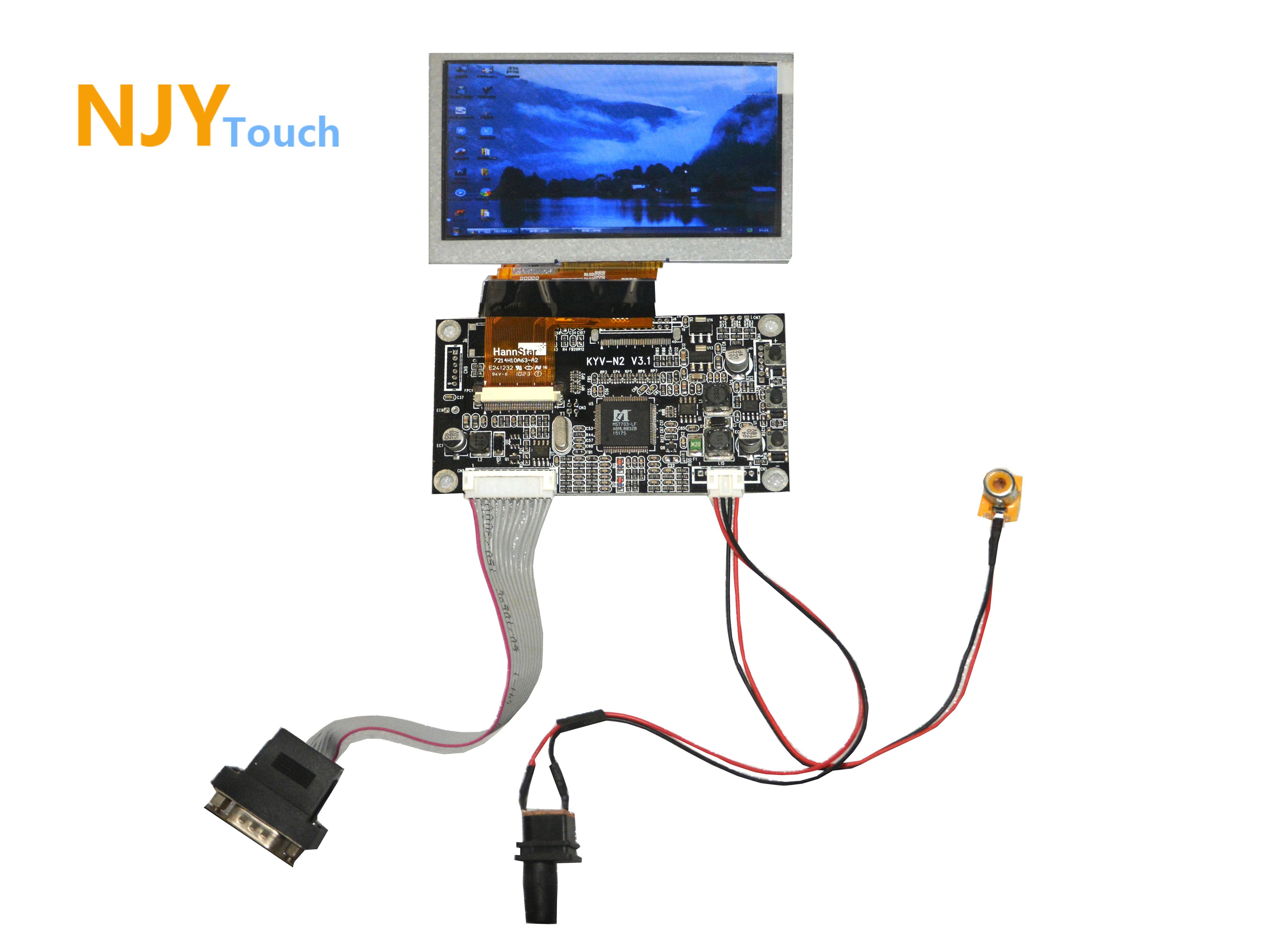 NJYTouch KYV N2 V3.1 VGA AV LCD Controller Board For 4.3inch HSD043I9W1 480x272 LCD Screen