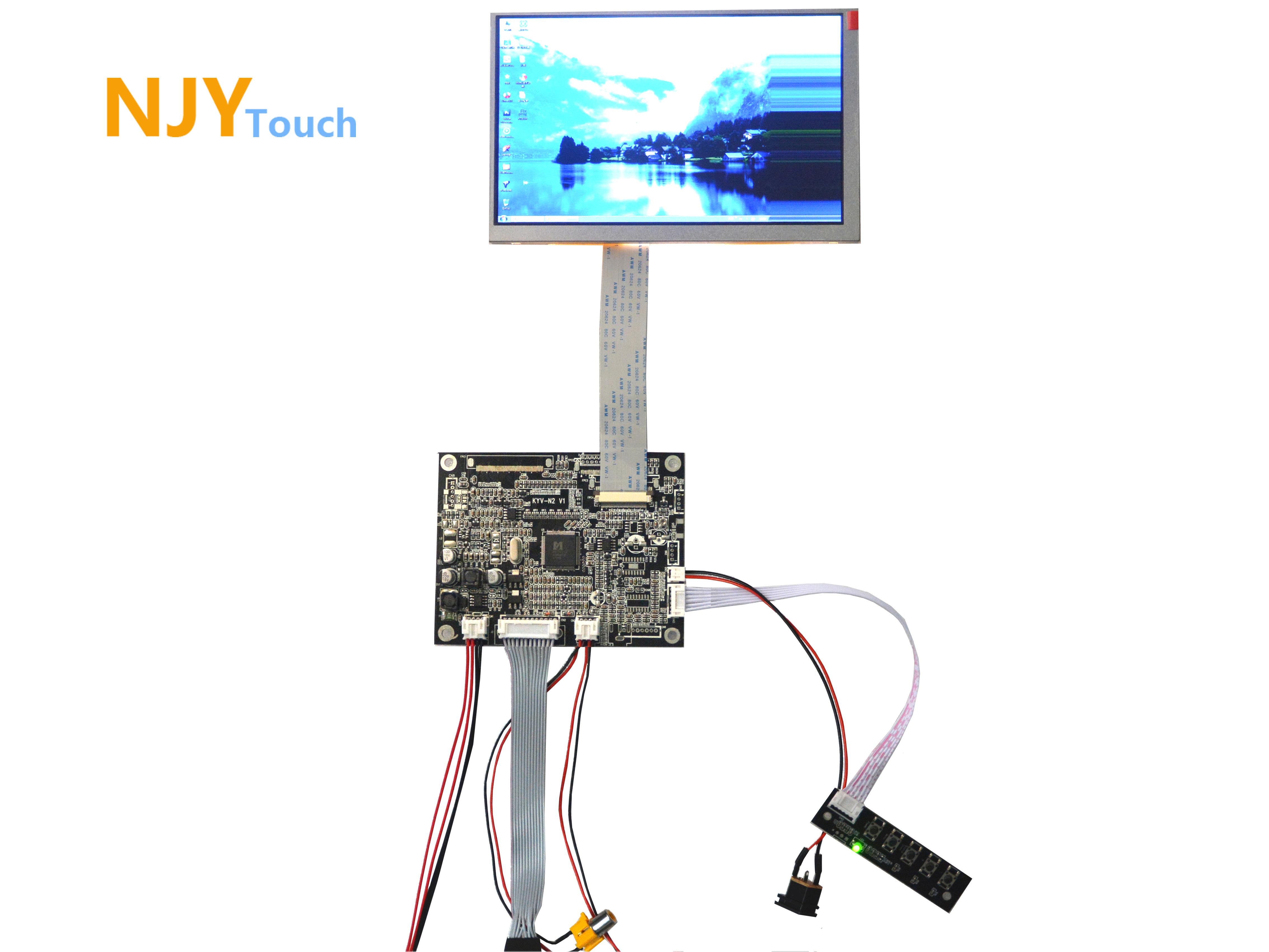 NJYTouch VGA AV Reversing LCD Controller Board For 7inch AT070TN83 800x480 LCD Screen