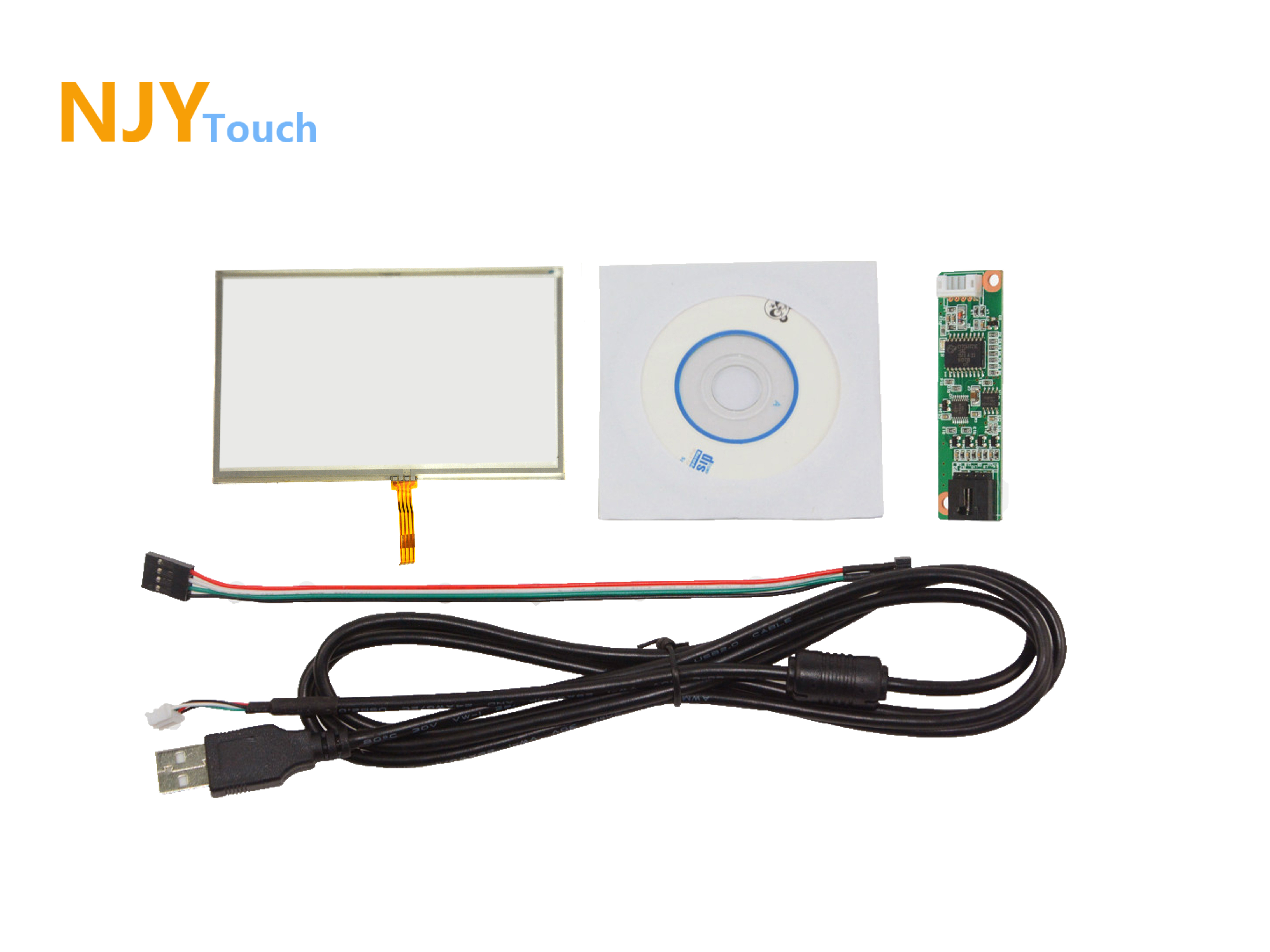 5inch 4 Wire Resistive Touch Panel Glass 117 x 70mm USB Controller Card For GPS