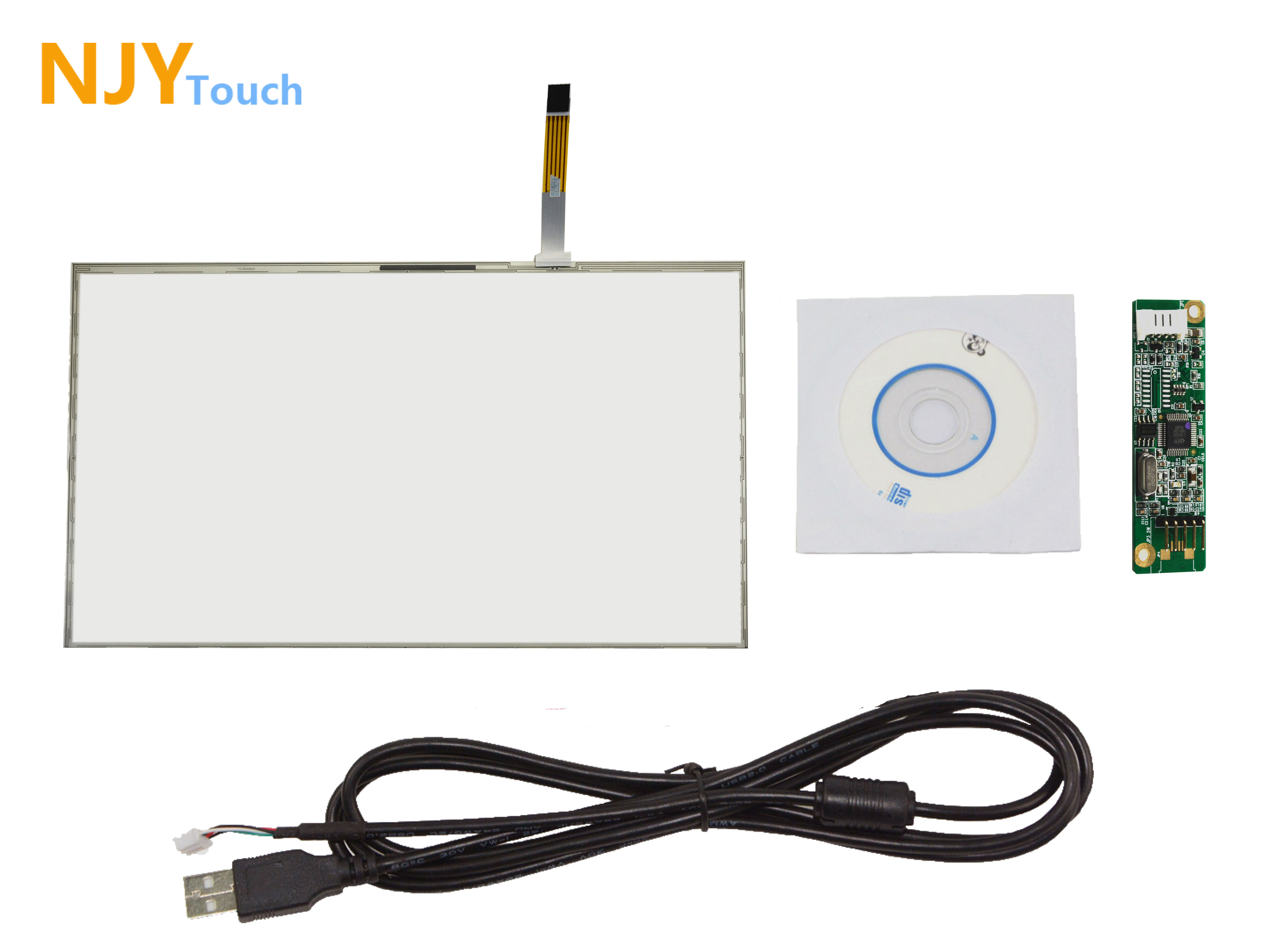 19inch 5 Wire Resistive Touch Screen Panel 426 x 276mm 16:10 USB Controller Card