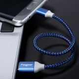 Fasgear 6 pcs 1ft / 30cm Nylon Braided Micro USB Short Cables With Gold-Plated Navy-Blue Connector Compatible with LG, HTC, Nokia, Android Phone And More (6 Colors)