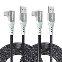 Fasgear USB C 90 Degree Cable: Right Angle Type C Fast Charging Cord Quick Charge Lead Compatible with Samsung Galaxy S20 S10 plus S9 S8 A70 A51 | Huawei P30 P20 | Redmi Note 8