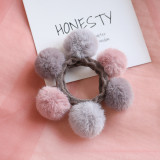 Ruoshui Woman Pompom Hair Ties Girls Elastic Hair Band Rubber Band Hair Accessories Gum Rope Cute Scrunchies Ponytail Holder