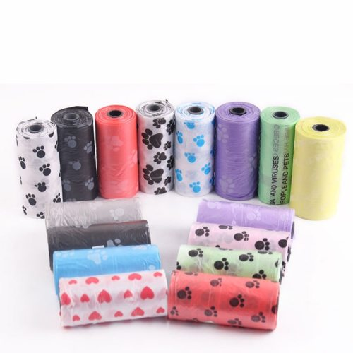 10 Rolls/150 Pcs Degradable Pet Dog Waste Poop Bag With Printing Doggy Bag Pet Waste Clean Poop Bags Random Color Convenience