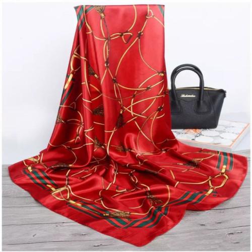 Silk Scarves Women Foulard 90*90cm Square Head Hijab Scarf Ladies chiffon Shawl wrap muffler pareo Bandanna female