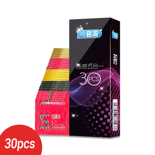 30pcs Mingliu 5 Types Penis Condoms Sexy Latex Dots Pleasure Natural Rubber Condones Male Contraception Penis Sleeve
