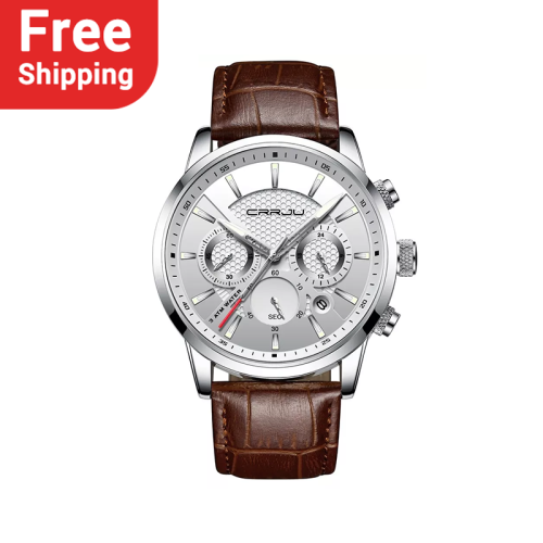 CRRJU 2212 New Fashion Analog Quartz Wristwatches Leather Band Watches