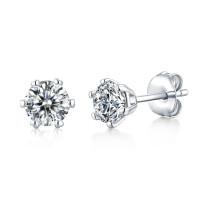 s925 silver earrings female six-claw earrings temperament simple wedding Mosang stone