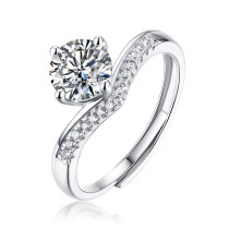 S925 Silver Crown Ring Moissanite Live Mouth Adjustable Female New Ring 1 Carat