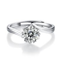 s925 silver ring Mosang stone twisted arm snowflake female diamond ring live mouth 1 carat Mosang diamond