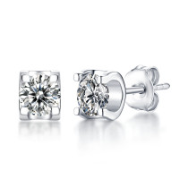 s925 silver earrings female style bull head earrings temperament simple wedding Mosang stone
