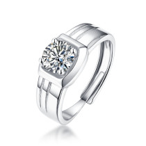 S925 silver simple male ring moss ring