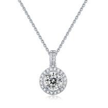 S925 Silver Round Cake Pendant Moissanite Necklace Fashionable Female Pendant Accessories
