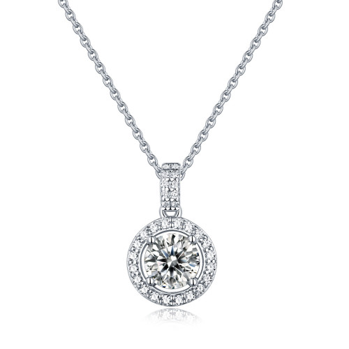 S925 Silver Round Cake Pendant Moissanite Necklace Fashionable Female Pendant Accessories