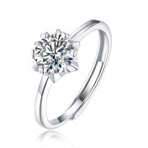 s925 Mosang stone ring snowflake starburst ring creative trend female models live mouth silver inlay