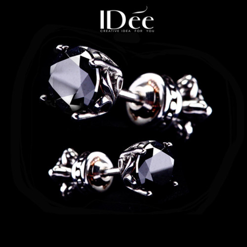 IDee black gemstone earrings male couple personality double-sided earrings trendy male fashion temperament earrings pair