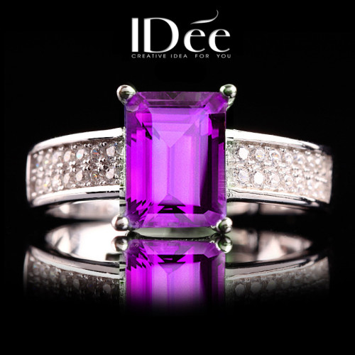 IDee Amethyst Gem Ring Female Fashion Personality 925 Silver Ring Color Choi Jewelry Limited Edition