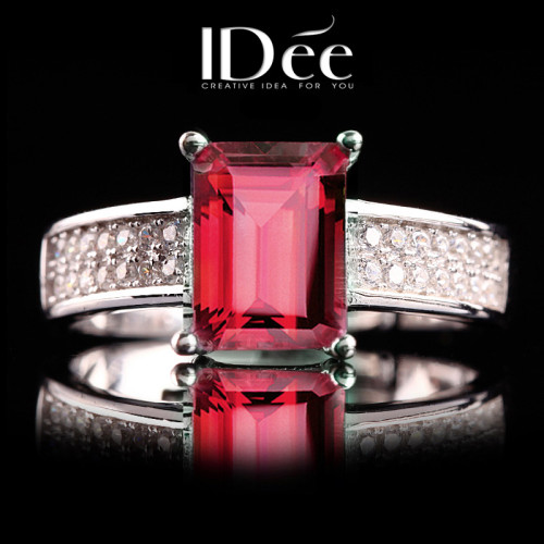 IDee natural crystal ring female 925 silver jewelry ring color treasure garnet limited edition