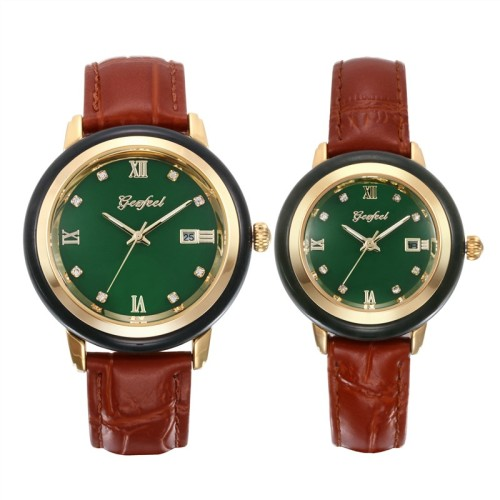 GEZFEEL Hot Jade Couple Watch Brown Leather Strap Waterproof