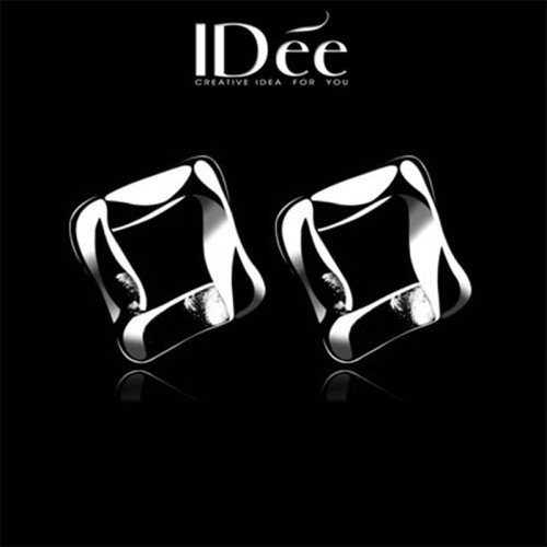 IDee square couple small earrings 925 silver jewelry