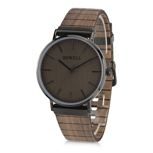 BEWELL ZS - W001S Men Quartz Watch Wooden Leather Strap Wristwatch