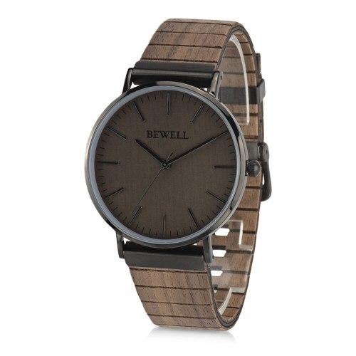 BEWELL ZS - W001S Men Quartz Watch Wooden Leather Strap Wristwatch