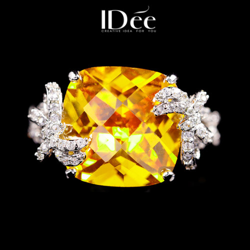 IDee Citrine Ring Personalized Large Gemstone Index Finger Ring Fashion Jewelry Limited Edition