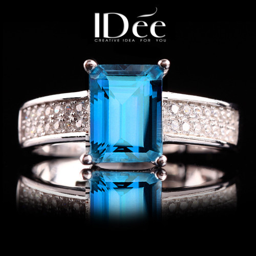 IDee natural blue topaz index finger ring female gemstone ring 925 silver jewelry limited edition