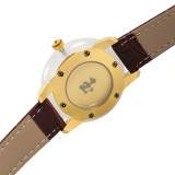 GEZFEEL Latest White Jade Couple Watch Brown Leather Strap