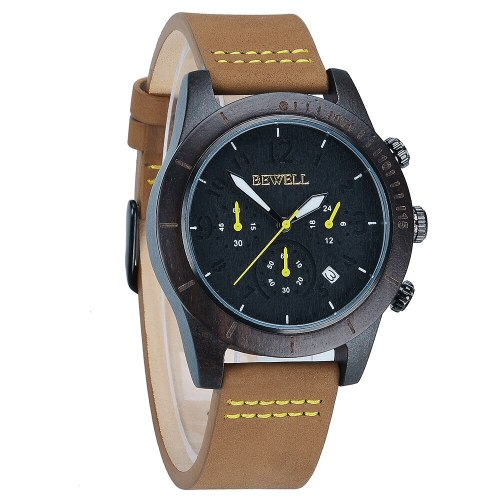 BEWELL Men's Ladies Wrist Watch Quartz Yellow with Leather Strap Brown Calendar Date Wood Watch Natural Wood NEW Arrival 157a