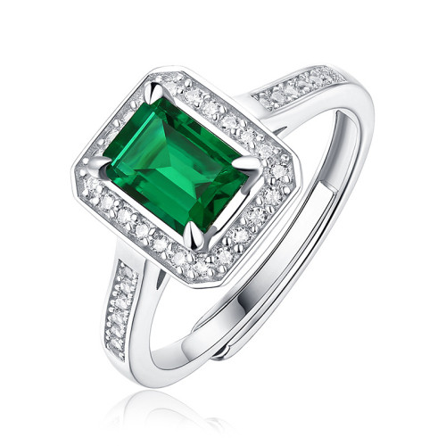 S925 silver ring jade rod ring inlay nurturing emerald gemstone ring ring live mouth
