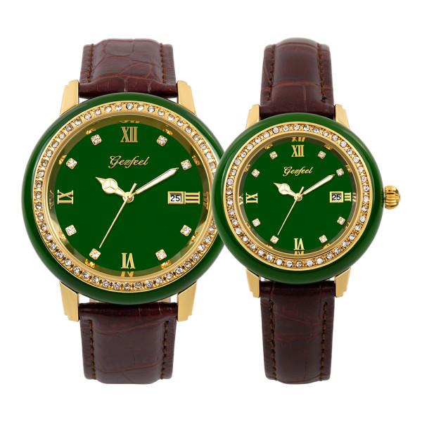 GEZFEEL Latest Green Jade diamond Couple Watch Japan Citizen Movement
