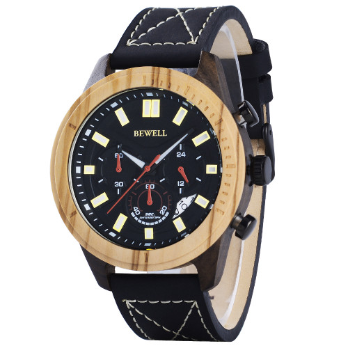 BEWELL Men's Wooden Watch Brown Leather Strap Chronograph Quartz Date Casual Watch Chronograph And Date Display Luminous 161A