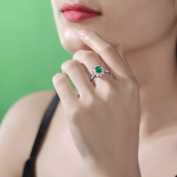S925 Silver Ring Wakaba Ring Inlay Cultivation Emerald Stone Living Mouth Setting