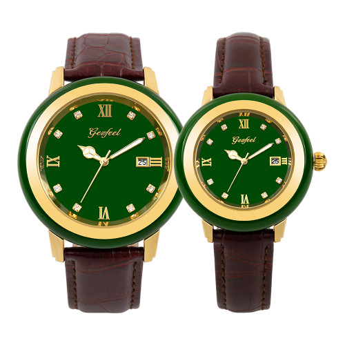 GEZFEEL Latest Green Jade Couple Watch Japan Citizen Movement