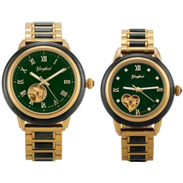 GEZFEEL Couple Watch Jade business automatic mechanical jade hollow