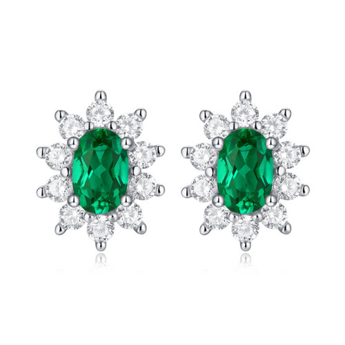 925 Silver Earrings Canglan Stud Earrings Cultivated Emerald Earrings