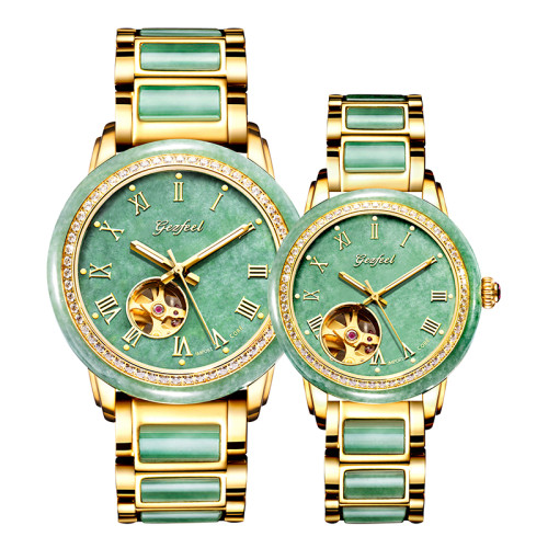 GEZFEEL Emerald Couple Watches Pure Natural Jade  diamonds Watch
