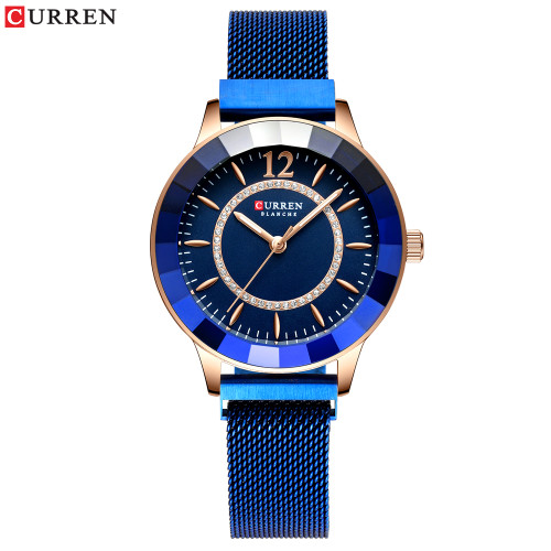 CURREN 9066 New Rhinestone Fashion Quartz Mesh Steel Watch for Women