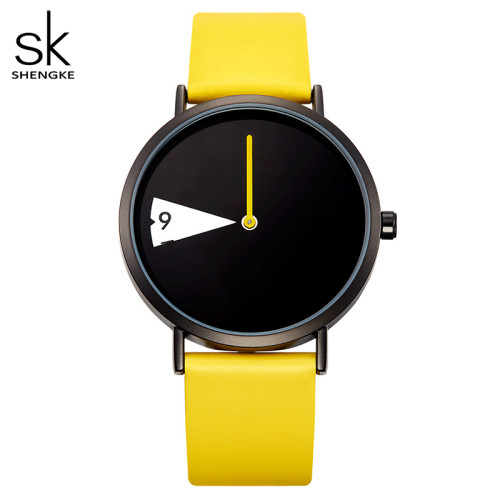 SHENGKE 0090 Quartz Women Watch Fashion Creative Leather