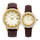 GEZFEEL Latest White jade diamond Couple Watch Brown Leather Strap
