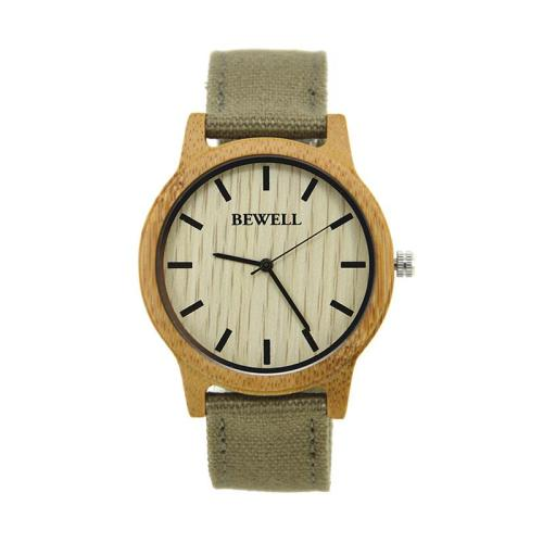 BEWELL Watch Men   Brand Fashion Casual Stylish Canvas Strap Wooden Watch Fashionable 100% Natural Wood Watches For Male