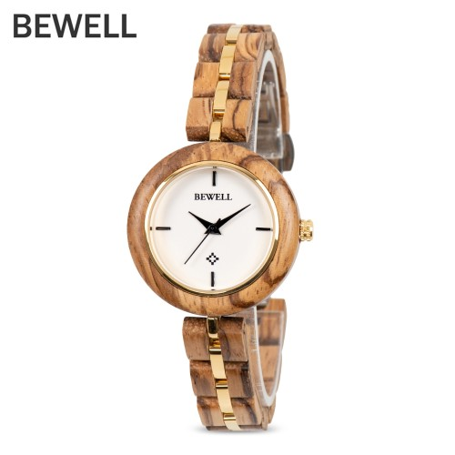 BEWELL ZS - W164A Women Watch Quartz Movement Stainless Steel Wood Strap Luxury Brand Wrist Watches Waterproof Analog Watches