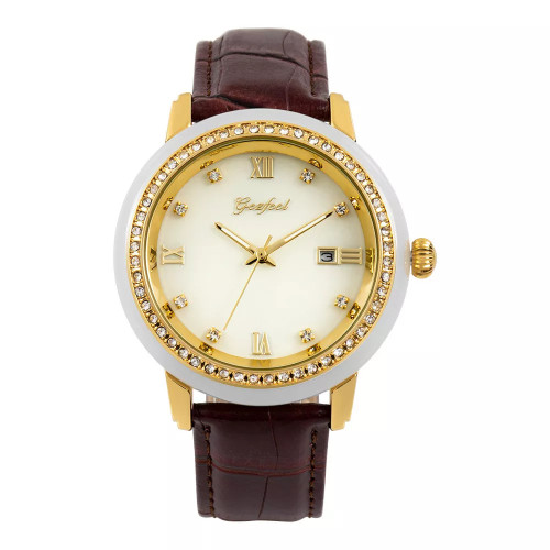 GEZFEEL Latest White jade diamond Couple Watch Brown Leather Strap