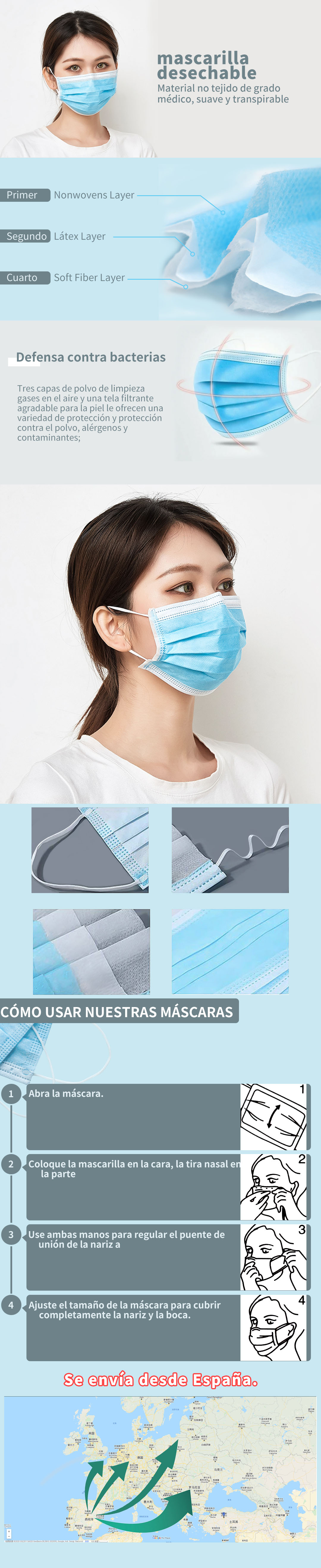 100Pcs Earloop Mask Disposable Nonwove 3 Layer Ply Filter Mask mouth Face mask filter safe   Breathable dustproof Protective mas